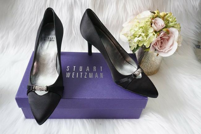 Item - Black Bridal Embellished Pointed Toe Heel Satin Pumps Size US 7 Regular (M, B)