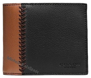 Coach $185 NWT Compact ID wallet in Baseball Stitch Leather F75170