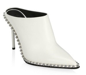 Alexander Wang Pointed Toe Studded White Black Mules