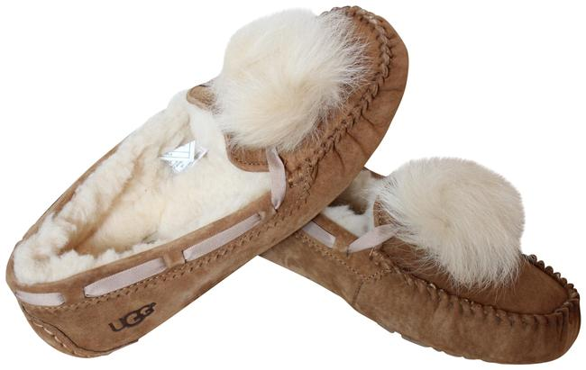 Item - Chestnut Tan Brown Dakota Suede Shearling Fluff Pom Slippers Mules/Slides Size US 8 Regular (M, B)