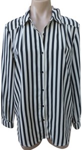Amuse Society Striped Size Large Polyester Crepe Long Sleeve Top White/black