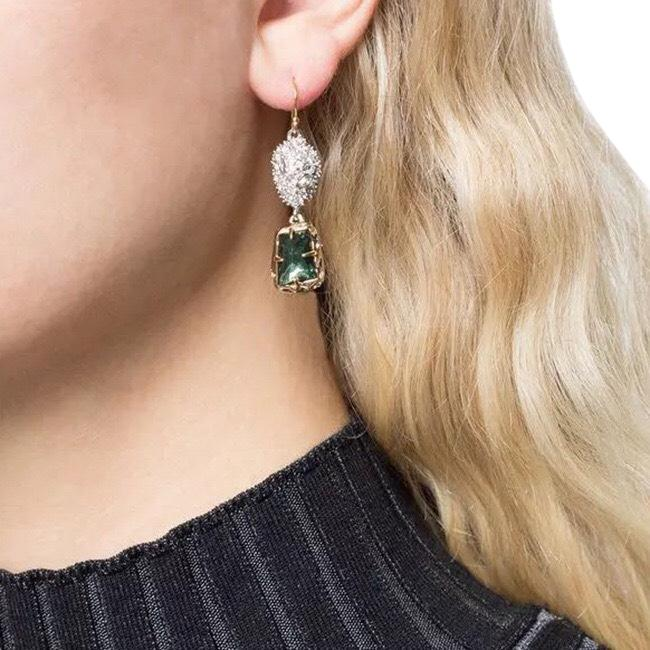 Item - Green Gold Mismatched Double Drop Earrings
