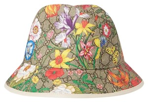 Gucci Leather-trimmed printed coated-canvas bucket hat size medium