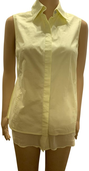 Saks Fifth Avenue Pale Yellow No Button-down Top Size 4 (S) Saks Fifth Avenue Pale Yellow No Button-down Top Size 4 (S) Image 1