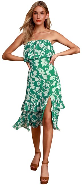 Item - Green Paradise Is Waiting Print Strapless Midi Mid-length Formal Dress Size 4 (S)