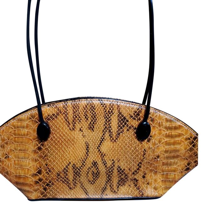 Item - Purse Orange and Black Snakeskin Leather Baguette