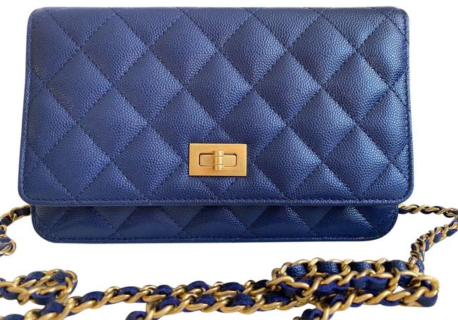 Item - on Chain Caviar Small Woc Wallet Brass Ghw Blue Leather Cross Body Bag