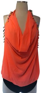 Double Zero Blouse Summer Rainbow Neon Orange Halter Top