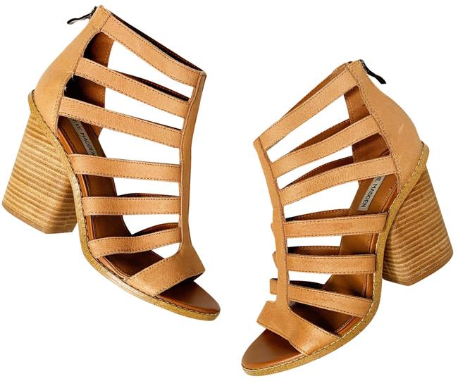 Item - Tan Carolle Strappy Leather Cutout Ankle Bootie Sandals Size US 9 Regular (M, B)