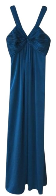 Item - Blue Satin V Neck Gown Long Formal Dress Size 6 (S)