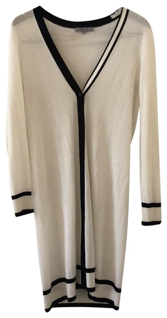 Item - Cream and Black Tipped Silk Cashmere Duster Vest Size 2 (XS)