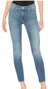 Mother Looker Fray High Waisted High Waisted Skinny Jeans-Medium Wash