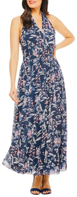 gal meets glam Blue Siena Floral Halter Neck Chiffon Long Casual Maxi Dress Size Petite 4 (S) gal meets glam Blue Siena Floral Halter Neck Chiffon Long Casual Maxi Dress Size Petite 4 (S) Image 1