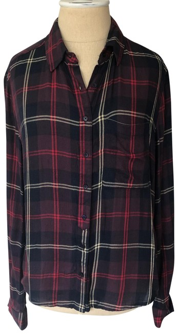 Item - Black and Red Multi Viscose Plaid Check Button-down Top Size 4 (S)