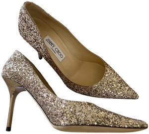 Jimmy Choo Mid Heel Leather Sole Made In Italy Party Heels Gold Pumps