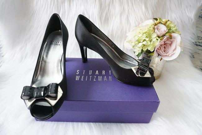 Item - Black Bridal Platform Peep Toe Bow Heel Satin Pumps Size US 6 Regular (M, B)