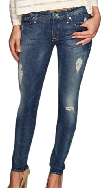 Item - Blue Dark Rinse Krista Super Ankle Distressed Skinny Jeans Size 12 (L, 32, 33)