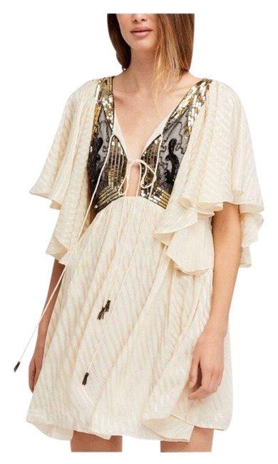Item - Cream Black Womens Moonglow A-line Short Casual Dress Size 8 (M)