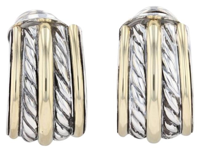 Item - Silver Gold Cable Partial Hoop Sterling 18k Omega Backs Earrings