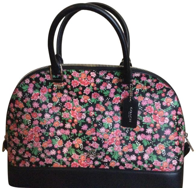 Item - Black Floral Multi Leather Satchel