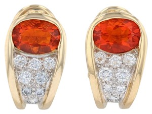 Krementz Krementz 1866 Fire Opal Diamond Garnet Earrings Gold Platinum