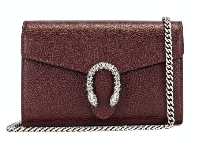 Gucci Wallet on Chain Dionysus Vintage Bordeaux Silver Shoulder Red Leather Cross Body Bag Gucci Wallet on Chain Dionysus Vintage Bordeaux Silver Shoulder Red Leather Cross Body Bag Image 1