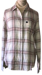 Abercrombie & Fitch Button Down Shirt white grey pink