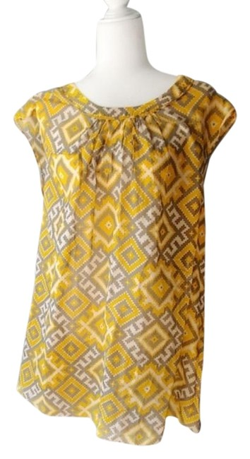 Item - Yellow Gray Short Casual Dress Size 4 (S)