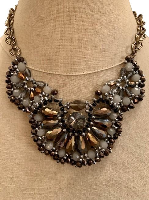 Item - Grey Silver Amber and Gold Statement Necklace