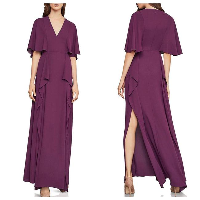 Item - Grape Bcbg Max Azria Georgette Flutter Slit Gown Long Formal Dress Size 4 (S)