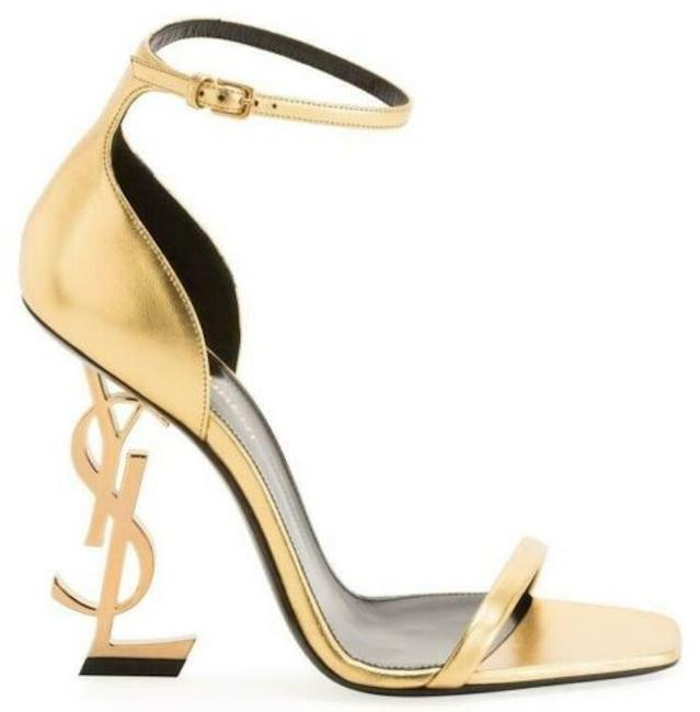 Item - Gold Ysl Logo Opyum 110 Oro Silk Ankle Strap Sandal Stiletto Heel Pumps Size EU 37.5 (Approx. US 7.5) Regular (M, B)