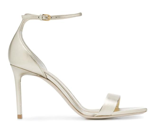 Item - Gold Amber 85 Platino Leather Ankle Strap Sandal Stiletto Heel Pumps Size EU 36.5 (Approx. US 6.5) Regular (M, B)