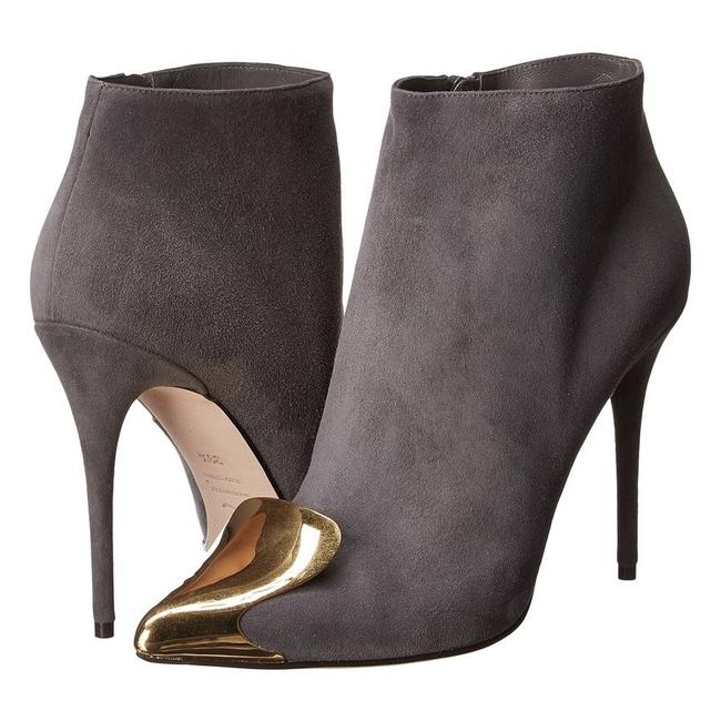 Item - Gray Metal Toe Cap Suede Ankle Boots/Booties Size EU 36 (Approx. US 6) Regular (M, B)