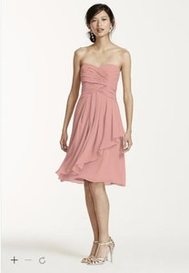 David's Bridal Ballet F14847 Short Crinkle Chiffon Dress With Front Cascade Dress