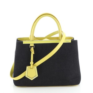 Fendi Denim Satchel in Blue, Yellow