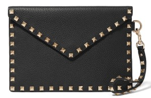 Valentino NEW VALENTINO BLACK ROCKSTUD LEATHER WRISTLET POUCH CLUTCH BAG