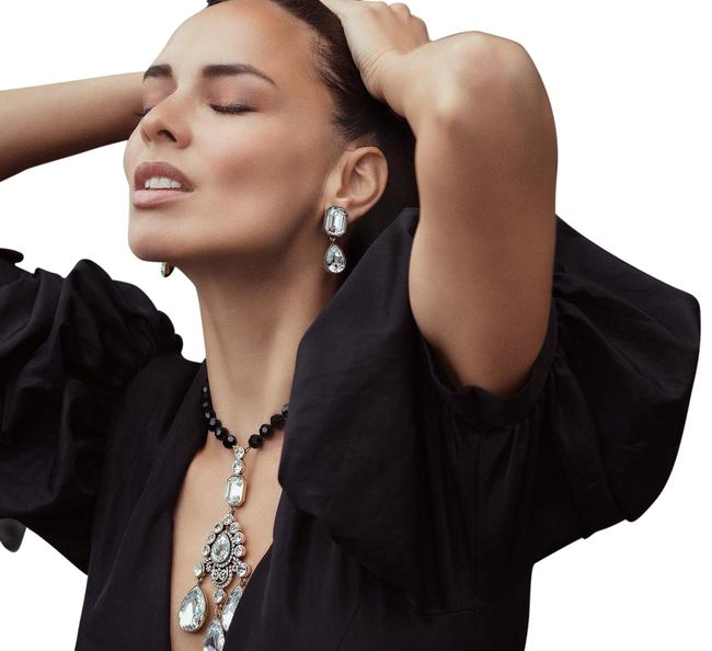 "Item - Black ""Clothing Optional"" Beaded Crystal Drop Statement Necklace"