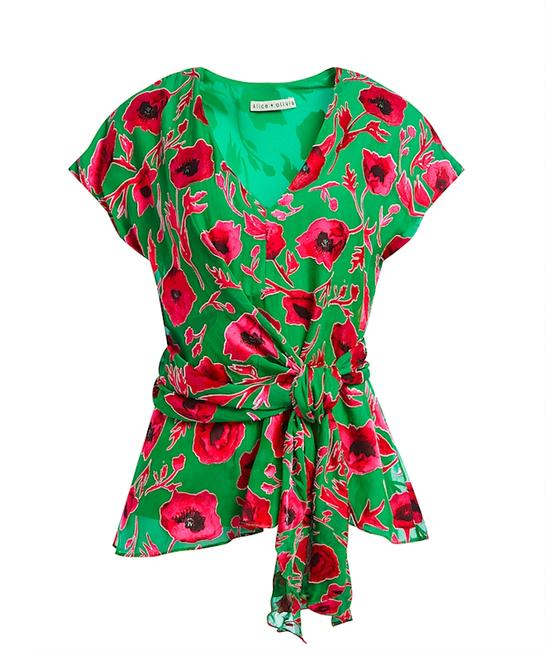 Item - Green/Red with Tag Essie Plunge Silk Blend Burnout Blouse Size 8 (M)