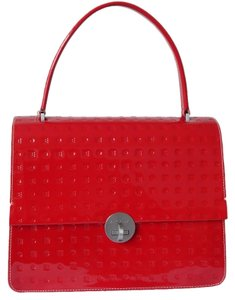Arcadia Embossed Patent Leather Made In Italy Flap Top Satchel in Red