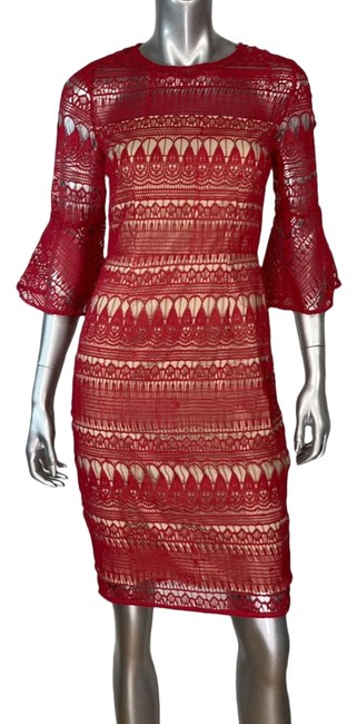 Item - Red Decadent Lace Short Cocktail Dress Size 4 (S)