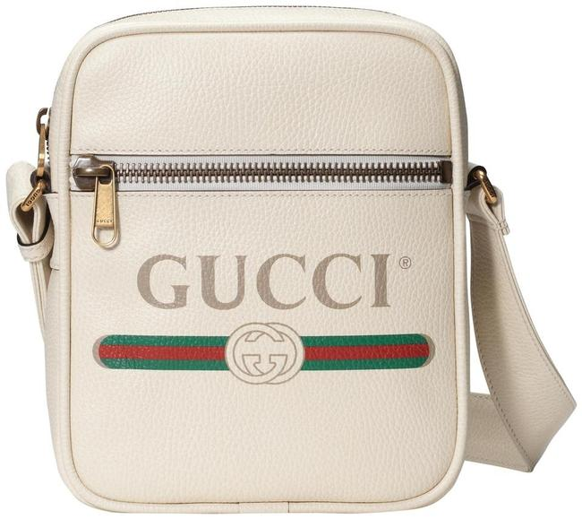 Item - Gg Logo Print White Leather Messenger Bag