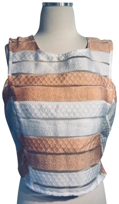 Item - Peach/White Crop Sheer Paneled Tank Top/Cami Size 12 (L)