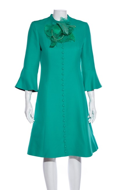 Item - Green Turquoise Wool & Silk Blend Flower Short Cocktail Dress Size 6 (S)