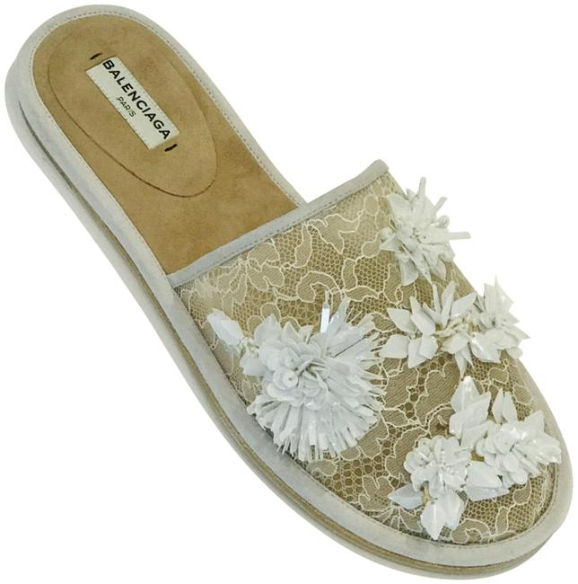 Item - White Lace Embroidered Floral Mules Sandals Size EU 37 (Approx. US 7) Regular (M, B)