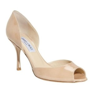Jimmy Choo Patent Leather Open Toe Sandals Stiletto Nude Pumps