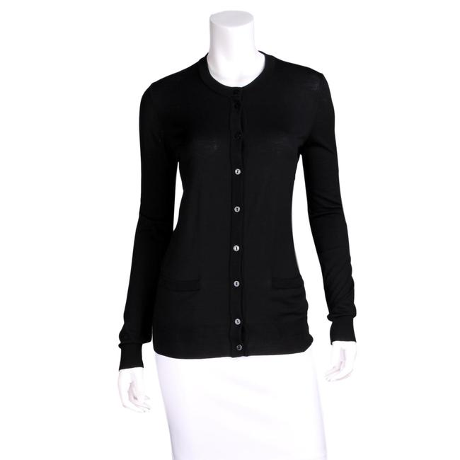 Item - Black Wool Button-up Knit Sweater Logo Buttons Cardigan Size 6 (S)