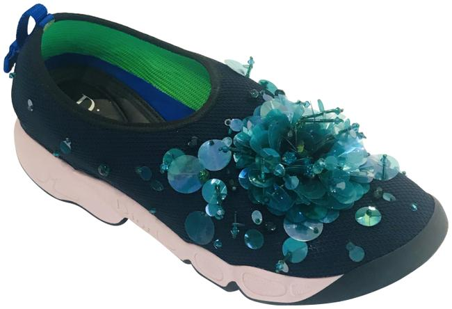 Item - Navy Technical Fabric Embellished Fusion Slip Sneakers Size EU 37.5 (Approx. US 7.5) Regular (M, B)