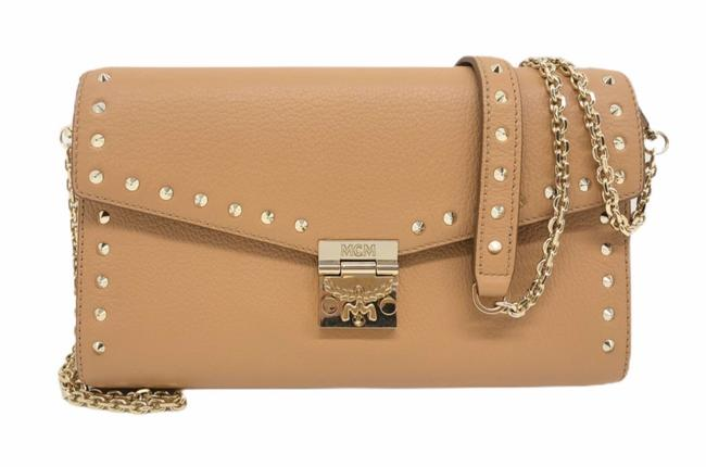Item - Clutch Medium Studded Millie Chain Timeless Biscuit Beige Leather Cross Body Bag