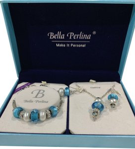 Bella Perlina Jewelry Set - Charm Bracelet, Necklace and Earrings