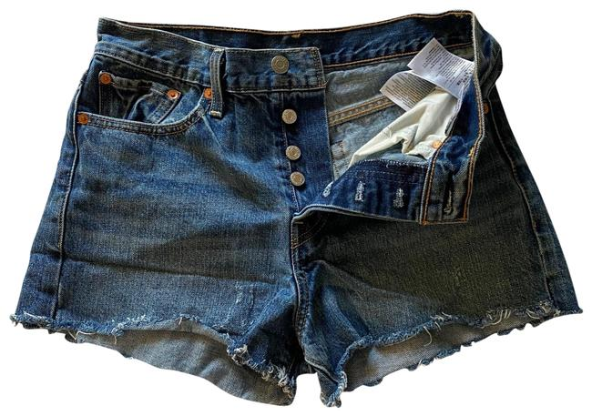 Item - Blue Denim Button Fly Shorts Size 6 (S, 28)